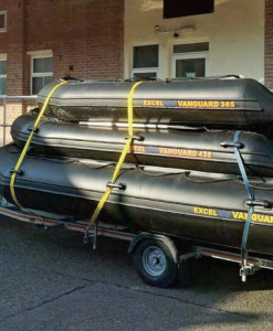 Excel 4.35m and 3.65m inflatable boats for rent at Film Equipment Hire